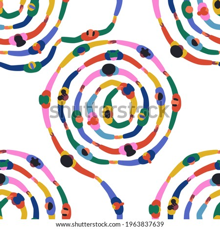 Seamless pattern illustration of diverse people group holding hands together. Colorful big circle round background, social community cooperation or friend teamwork concept.