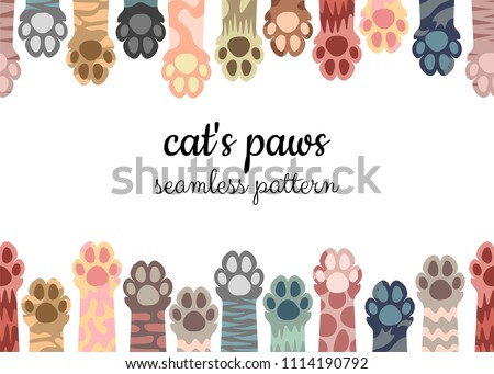 Seamless pattern, illustration of multi-colored cat paws on a white background. Brochure, card, flyer
