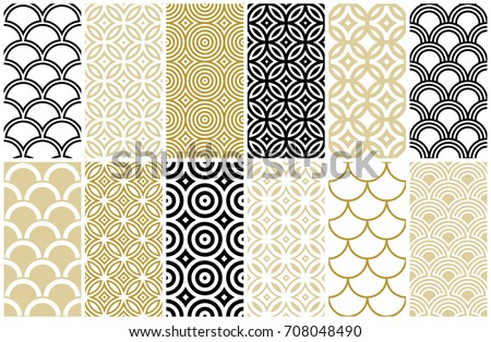 seamless pattern in Asian and Moroccan style, wave and fish scale