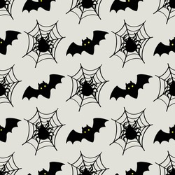 Seamless pattern in bats, spiders and cobwebs. Halloween. Vector illustration
