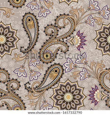 seamless pattern in beige brown tint  with ornate paisley and elements, curls, decorative mandala, light beige doodle
