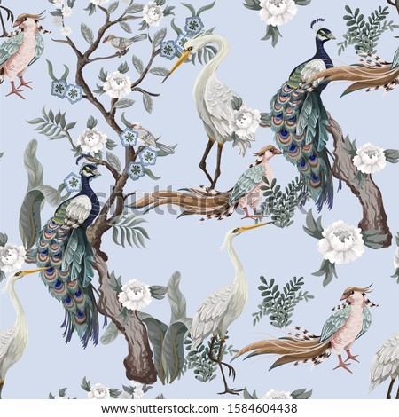 Seamless pattern in chinoiserie style with herons, peacock, birds and peonies. Vector,