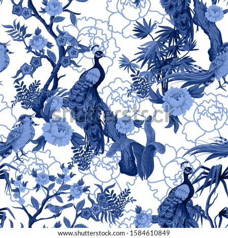 Seamless pattern in chinoiserie style with  peacock, birds and peonies in blue color. Vector, Foto stock ©