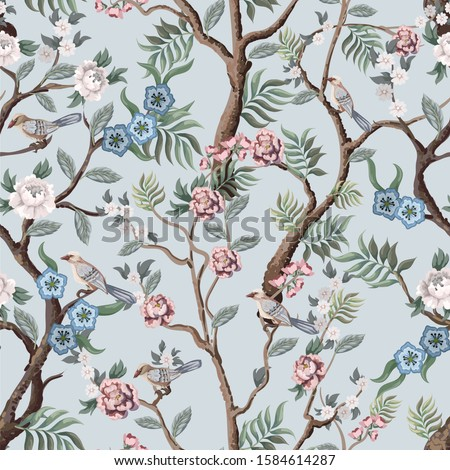 Seamless pattern in chinoiserie style with peonies trees and birds . Vector,