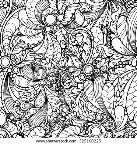 Seamless Pattern In Doodle Style Floral Nature Ornate Decorative Tribal