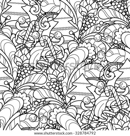 Adult Coloring Pages Doodle Zentangle Sea Seamless Pattern In Style Floral Ornate Decorative Tribal Christmas Design