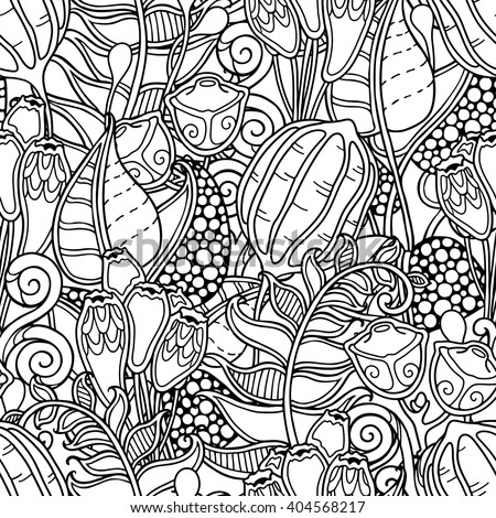 Seamless Pattern In Doodle Style Floral Ornate Decorative Tribal Forest Vector