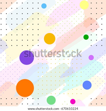 Seamless pattern in pastel colors from transparent brush strokes, small dots and color circles. Vector abstract background.