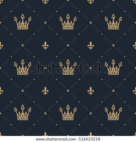 Seamless pattern in retro style with a gold crown on a blue background. Can be used for wallpaper, pattern fills, web page background,surface textures. Vector Illustration.