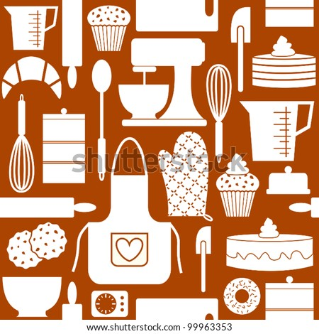 Seamless Pattern In Retro Style With Kitchen And Baking Items