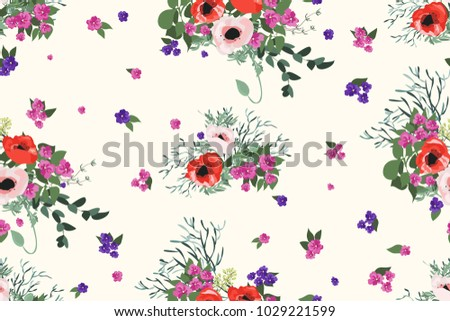Cute golden small flowers decoration pattern download free vector seamless pattern in small pretty flowers cute bouquets liberty style millefleurs floral background mightylinksfo
