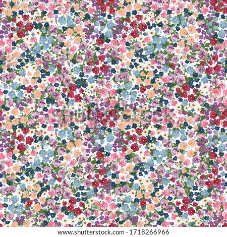 Seamless pattern in small pretty wild flowers. Cute bouquets. Liberty style millefleurs. Floral background for textile, wallpaper, pattern fills, covers, surface, print, wrap, scrapbooking, decoupage
