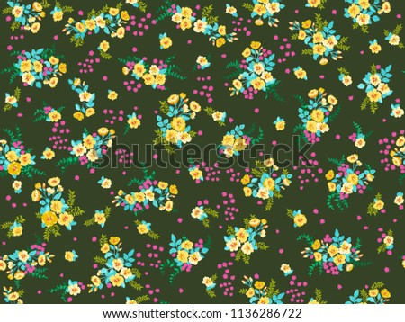 Cute floral ornaments with yellow flowers download free vector art seamless pattern in small pretty wild yellow flowers cute bouquets liberty style millefleurs mightylinksfo