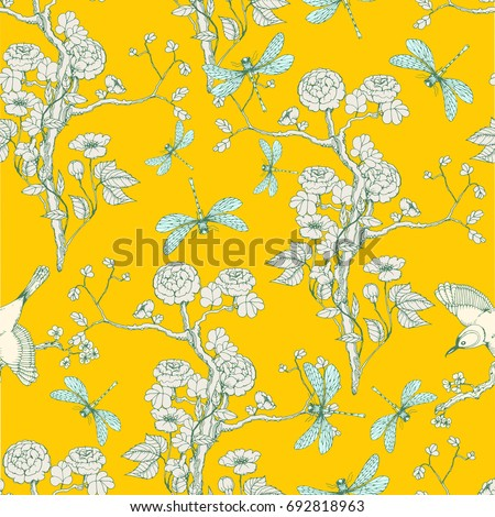 Seamless pattern in the chinoiserie style with peonies, dragonfly and bird on yellow background for wedding, scrapbooking, wallpaper and other design.