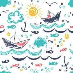 Seamless pattern in the concept of children's drawings. Seamless pattern with ships, fish, sun, clouds, sea and waves.