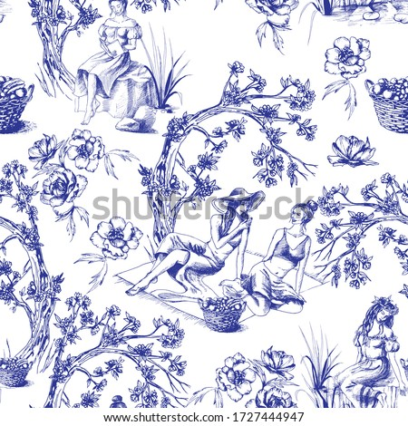 Seamless pattern in toile de jour style. Different hand drawn compositions with women. Texture for ceramic tile, wallpapers, wrapping gifts, web page backgrounds. Vector illustration Photo stock ©