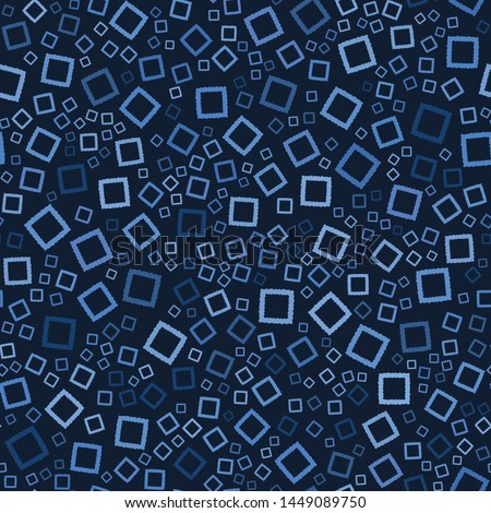 Seamless pattern. Indigo blue hand drawn confetti squares. Falling ditsy background. Organic irregular textured shapes. Masculine batik navy dyed surface design textile all over print. Vector swatch