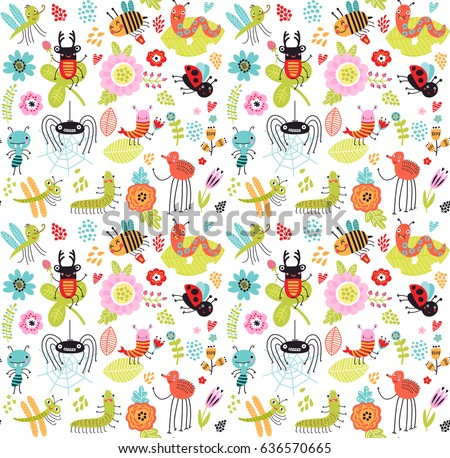 Seamless pattern. Insects and flowers. Baby background with beetles