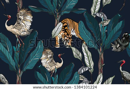 Seamless Pattern Jungle Forest Exotic Plants Wildlife Animals Tiger and Heron Birds with Sloth Realistic Hand drawn Design Fine lines Ink Outline on Dark Background Night Dramatic
