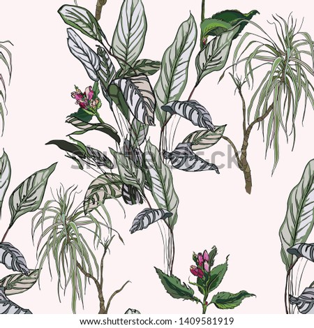 Seamless Pattern Jungle Tropical Forest Hand Drawn Fine Line Graphics Exotic Leaves Plants Summer Holidays Textile Design Faded Colors
