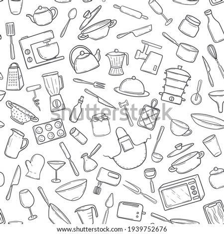 Seamless pattern  kitchen cooking tools in a hand-drawn doodle style. Household utensils appliances, utensils, for textile print, wrapping paper, card. Vector illustration on white background