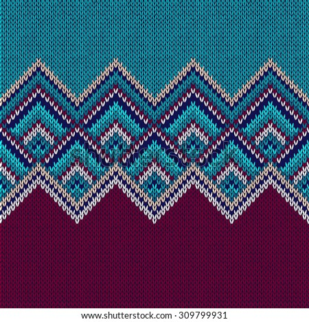 Seamless Pattern. Knit Woolen Trendy Ornament Texture. Fabric Color Tracery B...