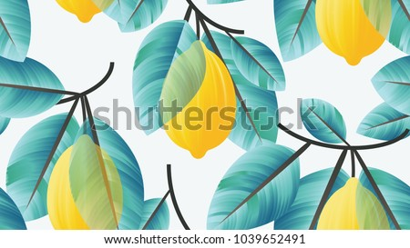 seamless pattern  lemon fruit