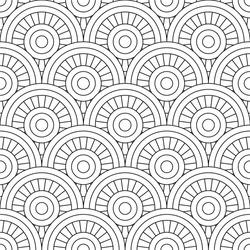 Seamless pattern, linear drawing, zentangle for coloring book, simple design background. Backdrop in the form of stained glass. Black and white vector template. Easy to edit color and lines.