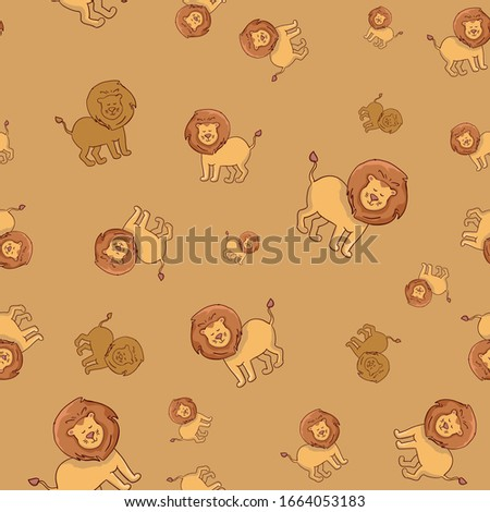 seamless pattern lions  hand