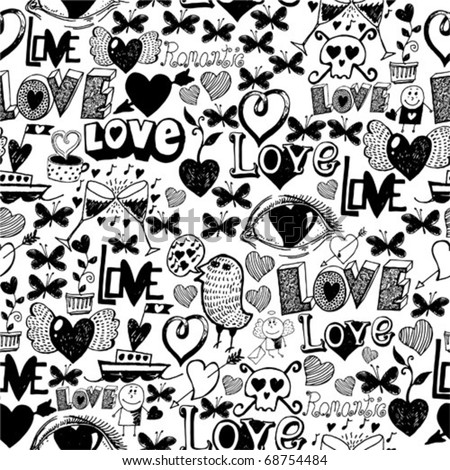 Seamless pattern - love