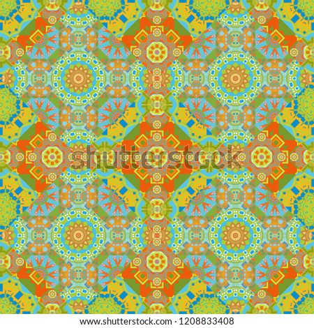 Stock Photo Seamless pattern luxury ornament. Vector ornament bandana in green, blue and orange colors for print, silk neck scarf or kerchief square design style for print on fabric.