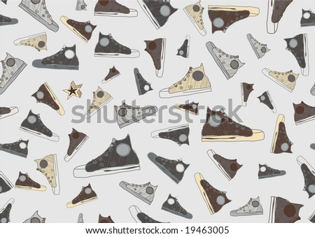 Seamless Pattern made of cool hand-drawn sport shoes in retro style. Vector illustration.