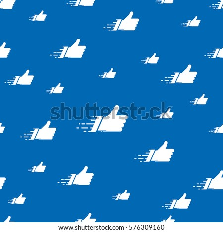 Seamless pattern made of flat thumbs up symbols on blue background. Abstract networks concept for social media banners. Colorful tiling vector composition with cyan cloud of isolated likes