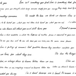 Seamless pattern made of handwritten text. Phrazes and quotes about love and relationships. English words and lettern written by hand in black and white monochrome colors.