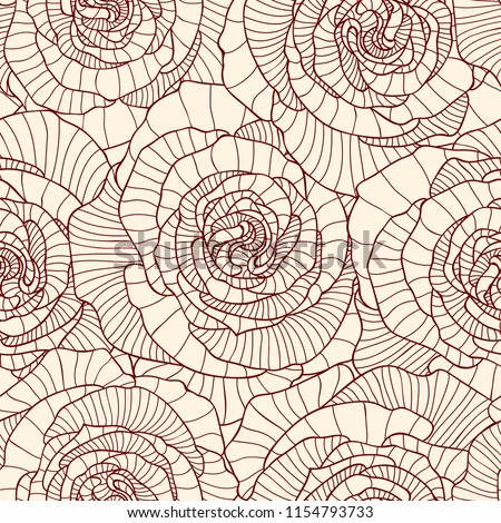 Seamless pattern made of linear engraving rose flowers