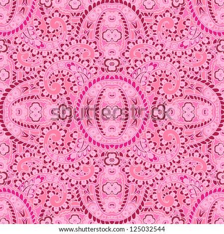 Seamless pattern made of paisley. Bright pink.