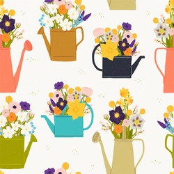 Seamless pattern made of watering cans and bouquets of spring flowers. Rustic flat style drawing. Sketch wrapping paper, textile, seasonal wallpaper for gardening blog or event. Vector illustration.