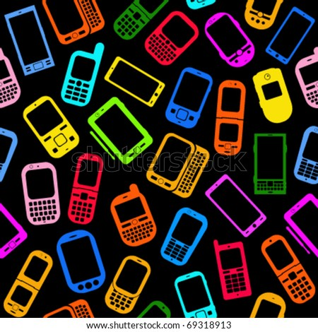 Seamless Pattern made with Mobile Devices on Black Background