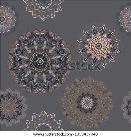 Seamless pattern - mandalas - in gray colors of different shades. Interior in loft style, brutal style. Geometric style, strict lines, interesting fashionable design.