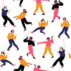 Seamless pattern. Many different people dancing solo, wearing earphones