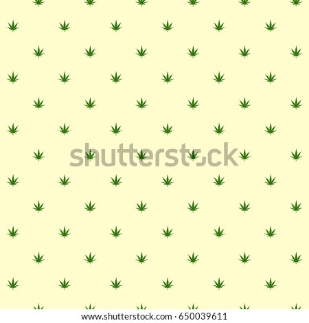 Seamless pattern. Marijuana icon. Cannabis leaf vector illustration isolated on white. Medical canabis sign. Legalize symbol. Fabric textile texture banner for web site. Backdrop, wrapping paper