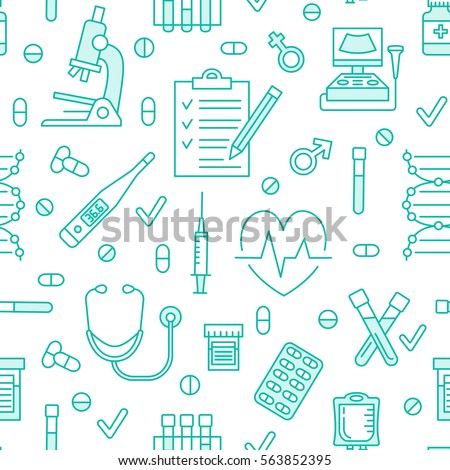 Seamless pattern medical icons, clinic vector illustration. Hospital thin line signs - thermometer, check up, diagnostic, microscope, stethoscope. Cute repeated texture for business presentation #563852395