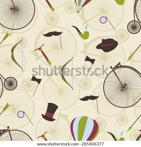 Seamless pattern men\'s set, Bicycle, bow, arrow, hat, top hat, mustache, tie.