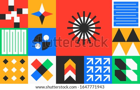 Seamless Pattern Modern Geometric combined Bauhaus, swiss, modernism, graphic design, suitable for corporate identity, invitation, paper, branding, banner, packaging, holiday.