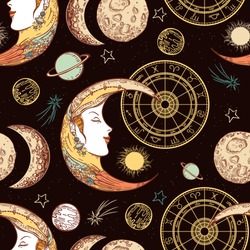 Seamless pattern. Moon face sun and crescent. Zodiac circle. Comets, planets and stars. Space. Engraving style. Astrology. Vintage background.