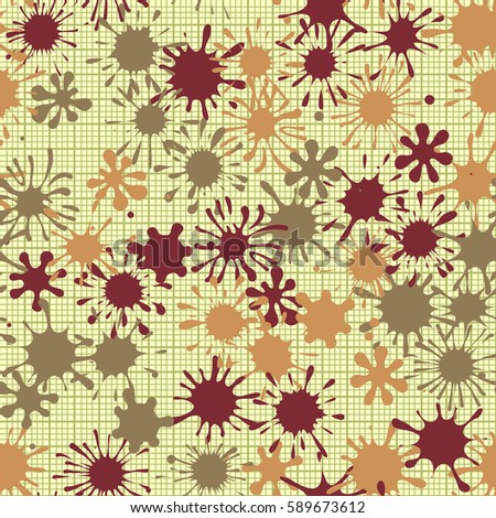Seamless pattern. Multi-colored blots on a plaid background. Grungy textiles. Wallpaper for children. Flat. Cartoon.