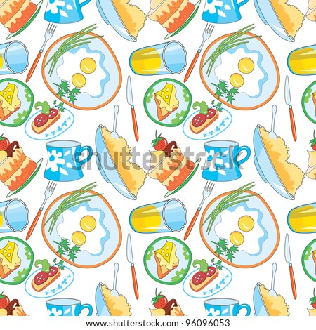 Seamless pattern - nourishing meal for a breakfast