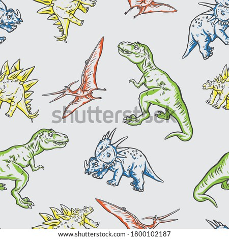 Seamless pattern of a cartoon Dinosaurs background vector elements