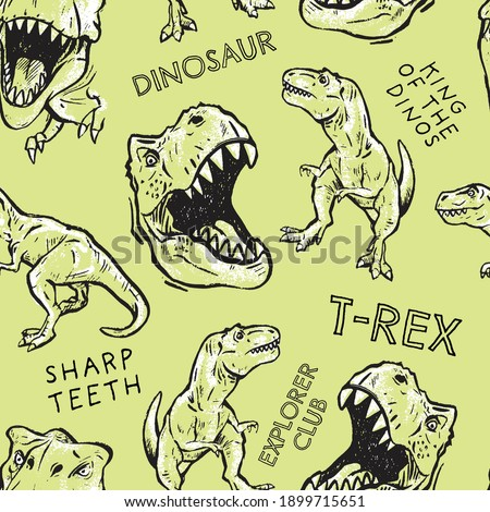 Seamless pattern of a hand-drawn dinosaurs with typography background elements