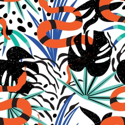 Seamless pattern of a tropical leaves with snake.Summer vector print.